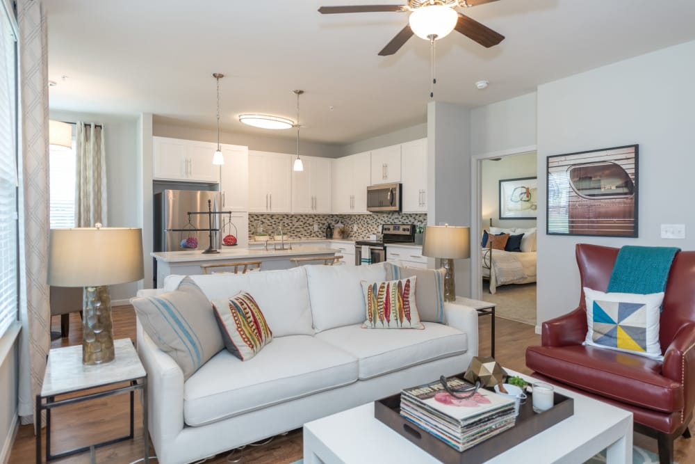 Living room at Silver Collection at Carl D. Silver Parkway in Fredericksburg, Virginia