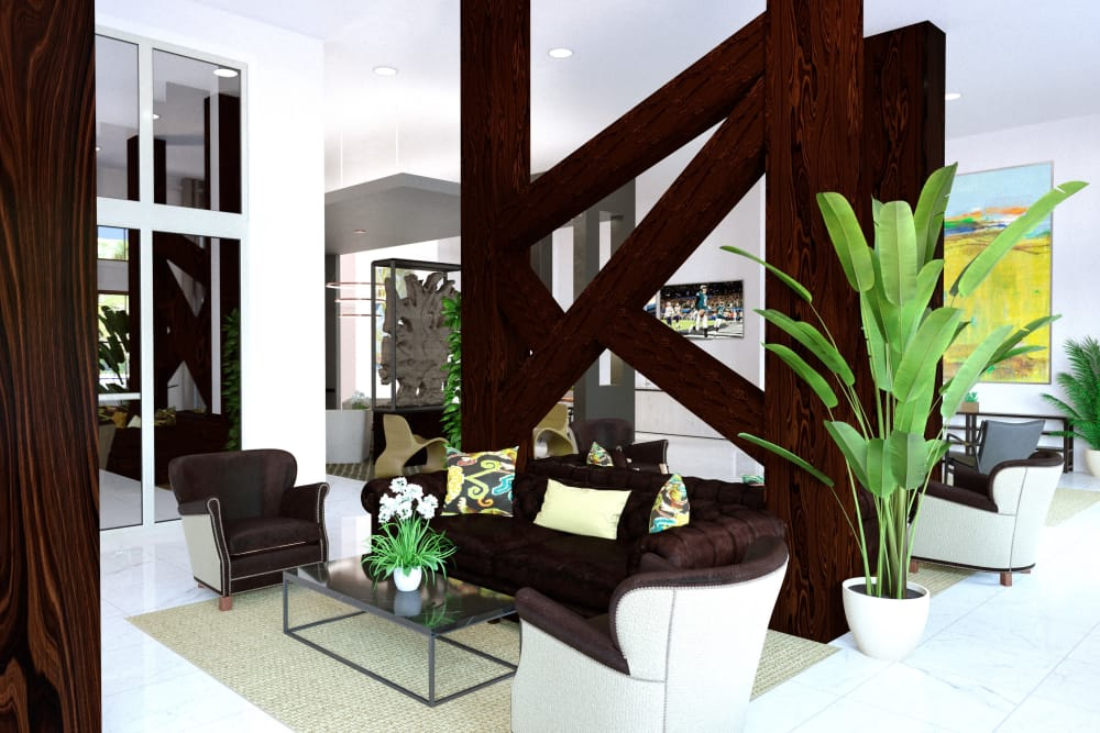 Lola Apartments's beautiful clubhouse interior with seating