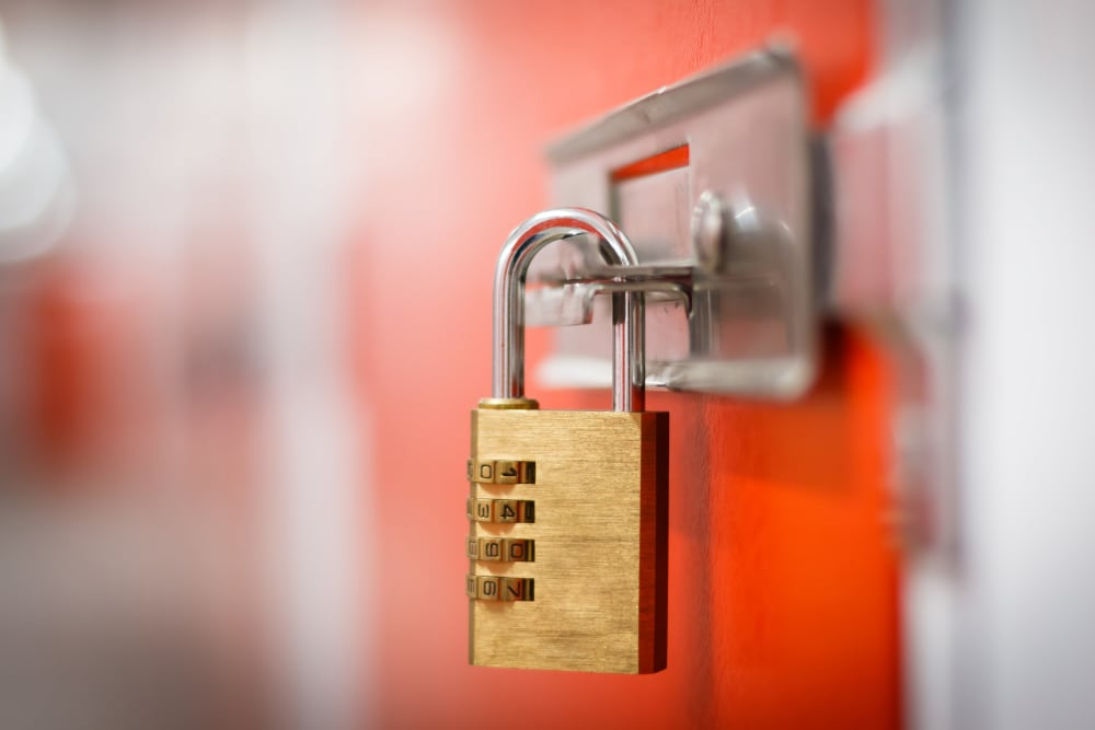Yellow padlock at Summit Self-Storage in Victor, Idaho
