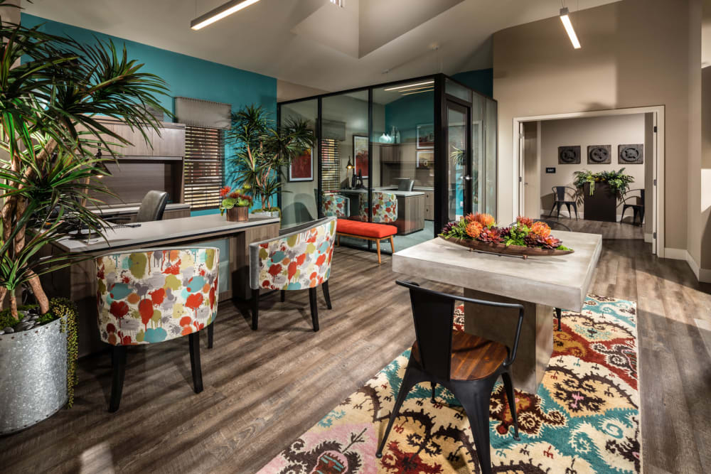 Beautiful and welcoming leasing office at Sierra Heights Apartments in Rancho Cucamonga, California