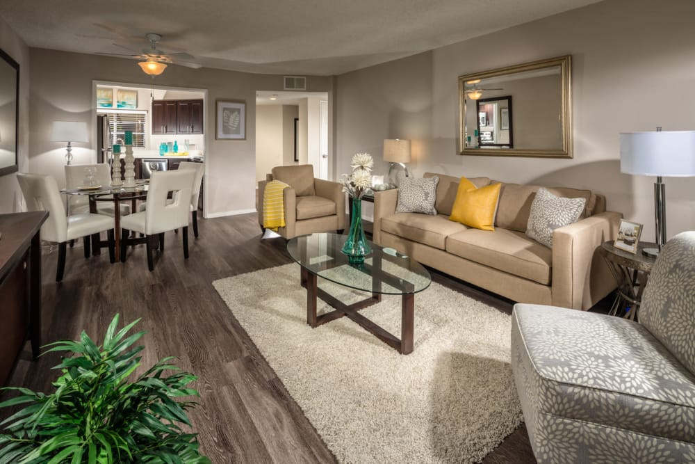 Living room example at Sierra Heights Apartments in Rancho Cucamonga, California
