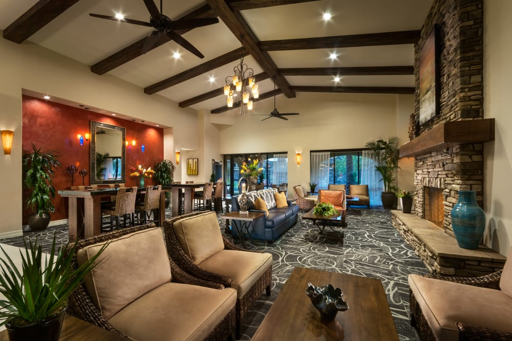 Spacious clubhouse with social lounge at San Posada in Mesa, Arizona