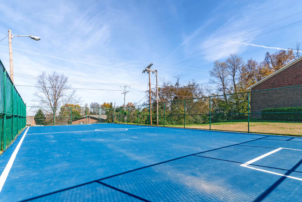 Onsite tennis courts at Audubon Park in Nashville, Tennessee