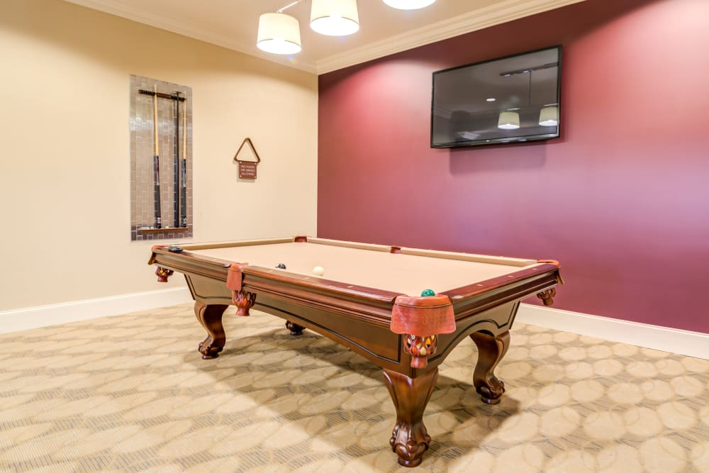 Luxury billiards room at Richland Falls in Murfreesboro, Tennessee