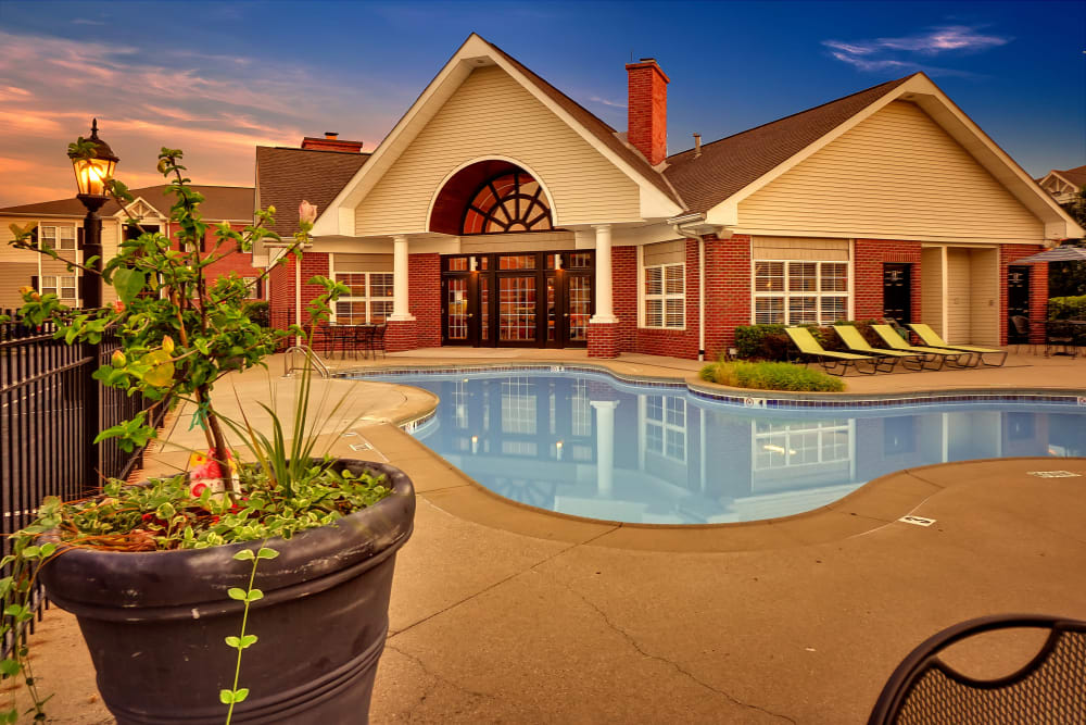 Swimming pool area at dusk at Renaissance St. Andrews in Louisville, Kentucky