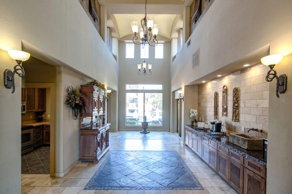 Modern clubhouse's kitchen at Grayson Ridge in North Richland Hills, Texas