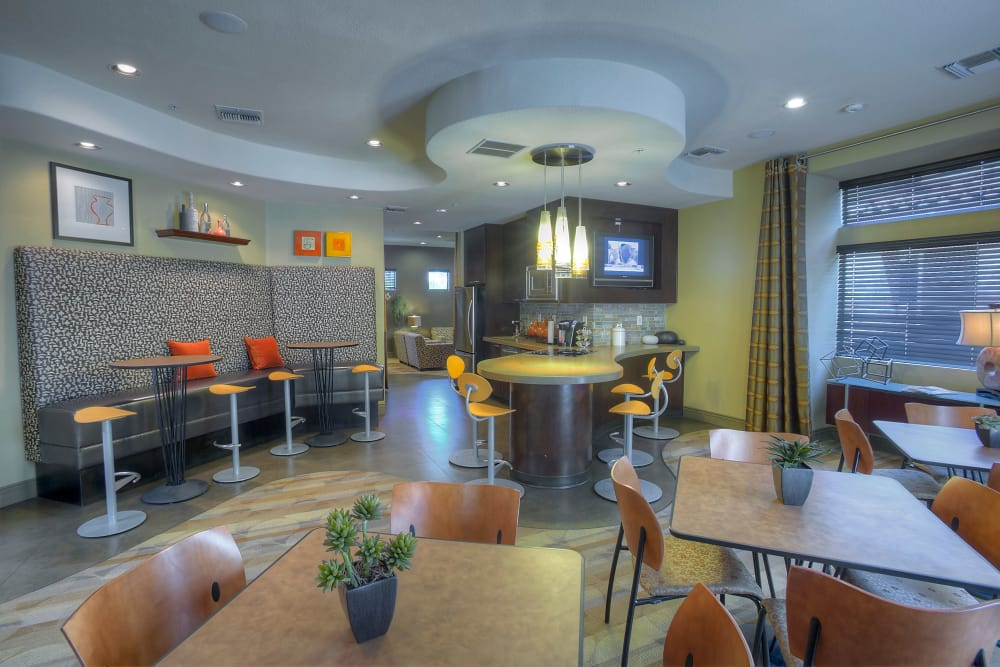 Contemporary decor in resident clubhouse at The Regents at Scottsdale in Scottsdale, Arizona