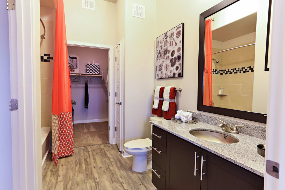 Bathroom with large vanity mirror in model home at The Hyve in Tempe, Arizona