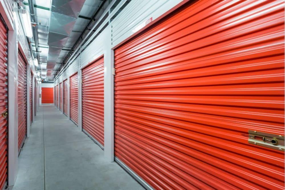 Interior units with roll-up doors at Smart Space Self Storage - Colorado Springs in Colorado Springs, Colorado