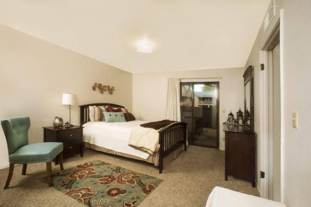 Bedroom at Pine Tree Apartments in Chico, California