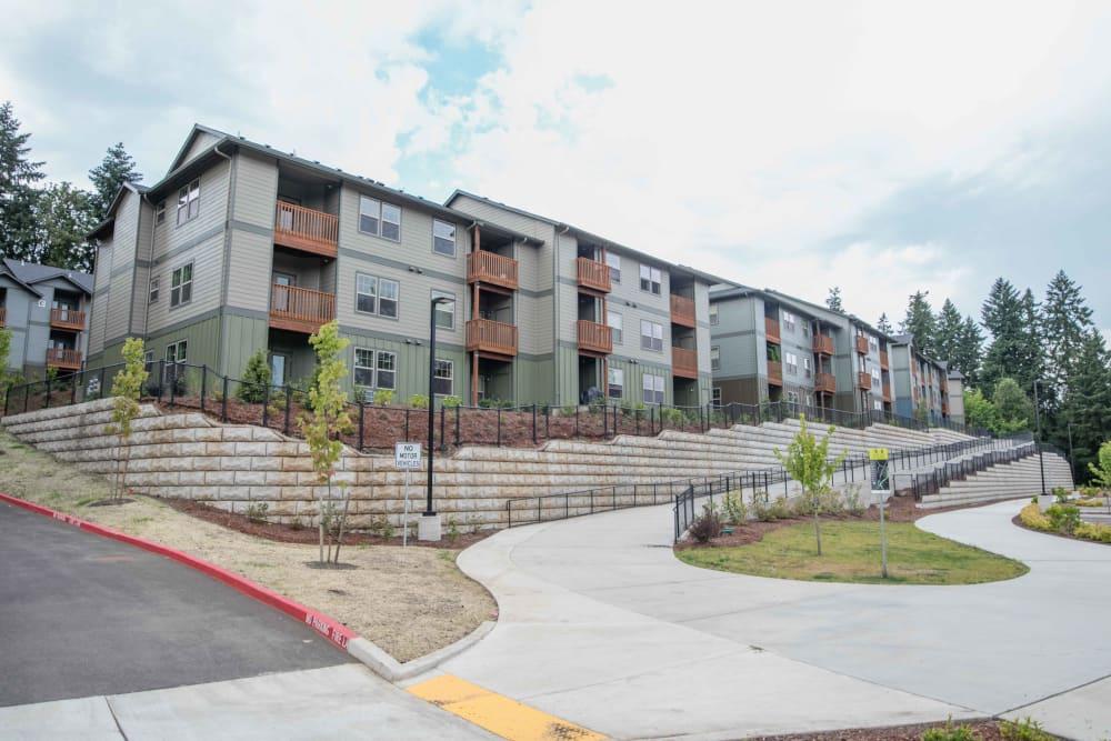 Exterior of apartment buildings at River Ridge Apartments in Tualatin, Oregon