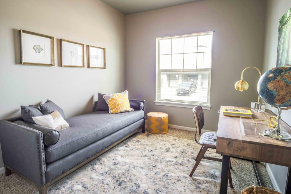Model living room at River Ridge Apartments in Tualatin, Oregon