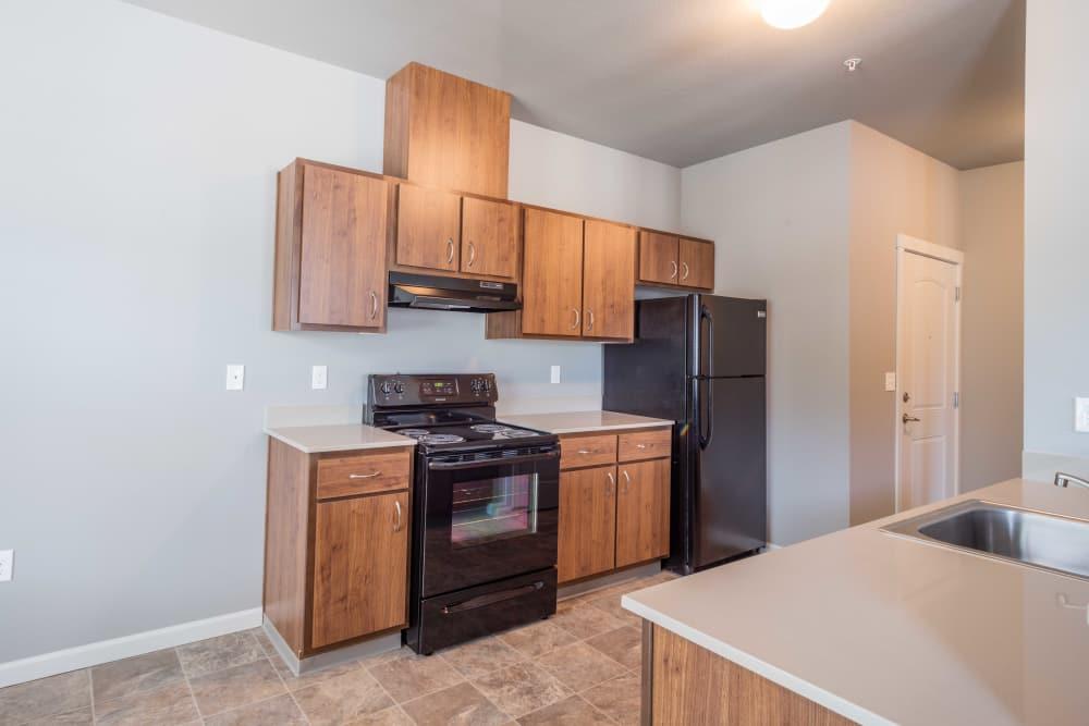 Spacious kitchen at River Ridge Apartments in Tualatin, Oregon