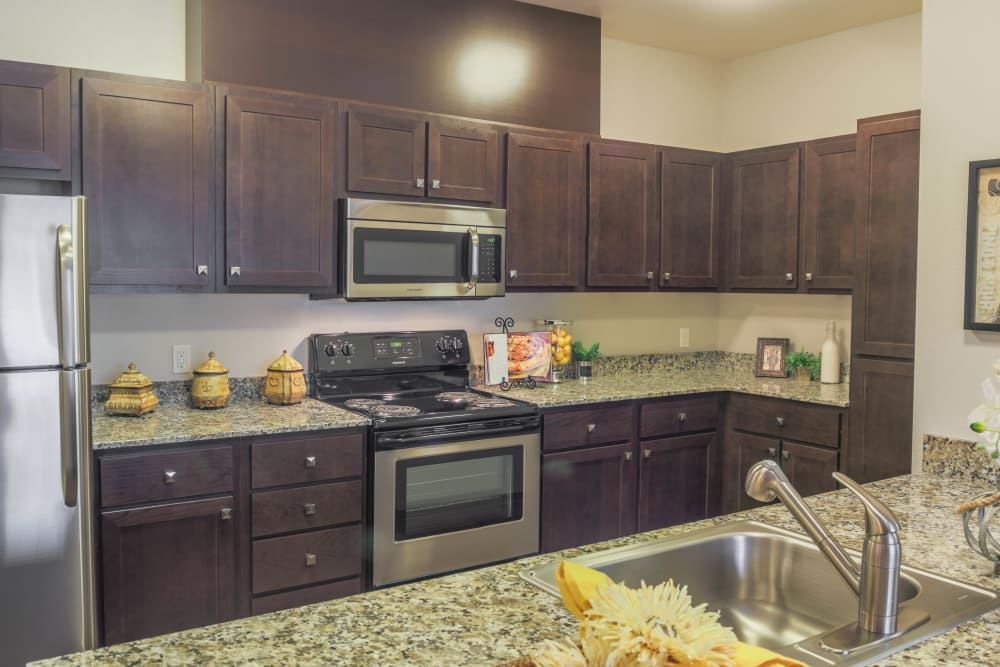 Fully equipped kitchen at Keizer Station Apartments in Keizer, Oregon