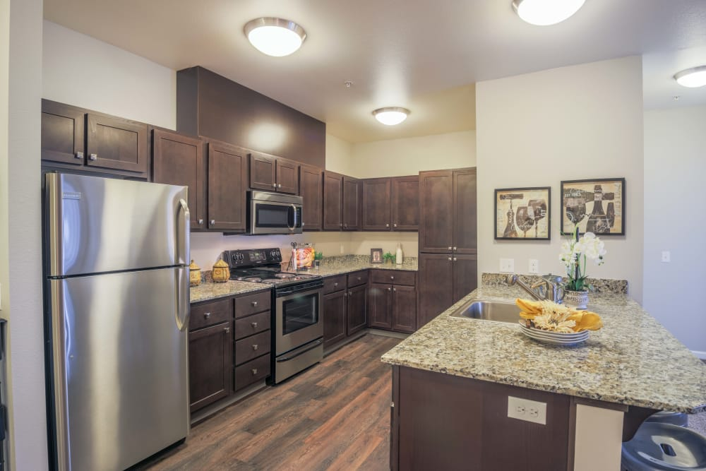 Kitchen at Keizer Station Apartments in Keizer, Oregon