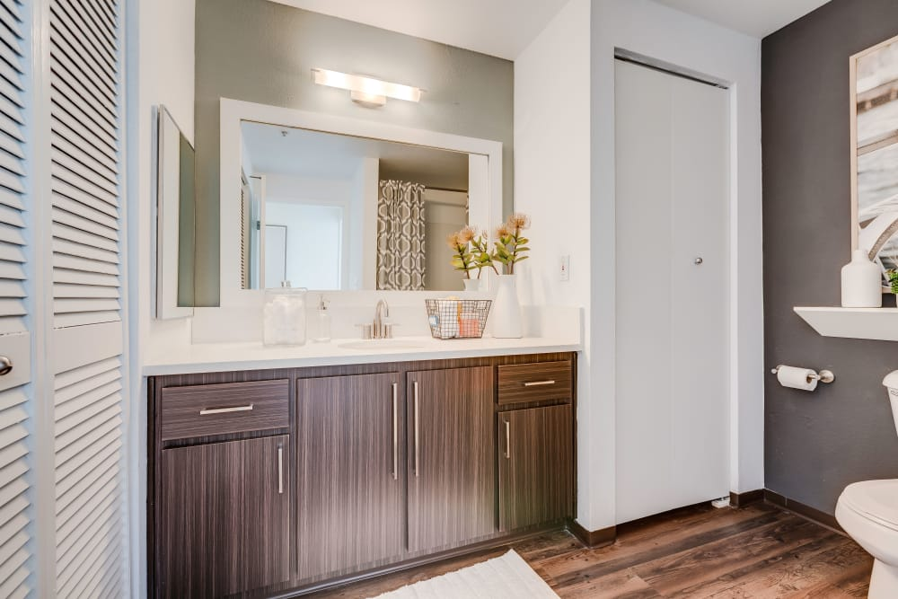 Beautiful bathroom at Centro Apartment Homes in Hillsboro, Oregon