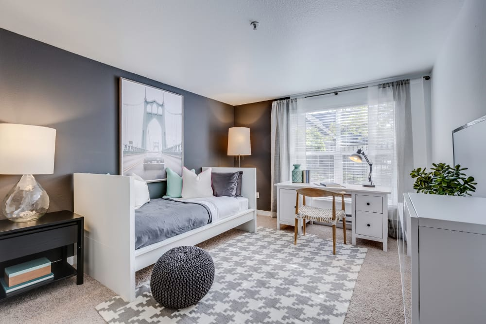 Enjoy a well decorated bedroom at Centro Apartment Homes in Hillsboro, Oregon