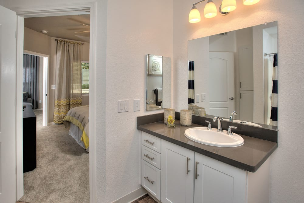 Beautiful ensuite bathroom at Centro Apartment Homes in Hillsboro, Oregon