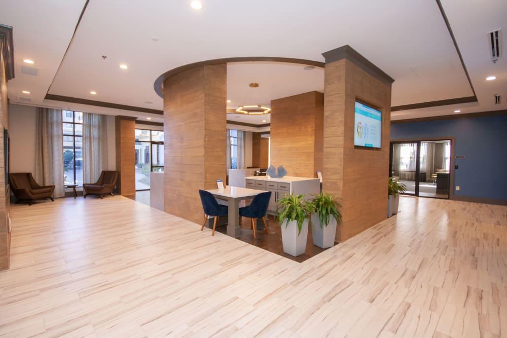 Beautiful lobby at The Eva in Sandy Springs, Georgia