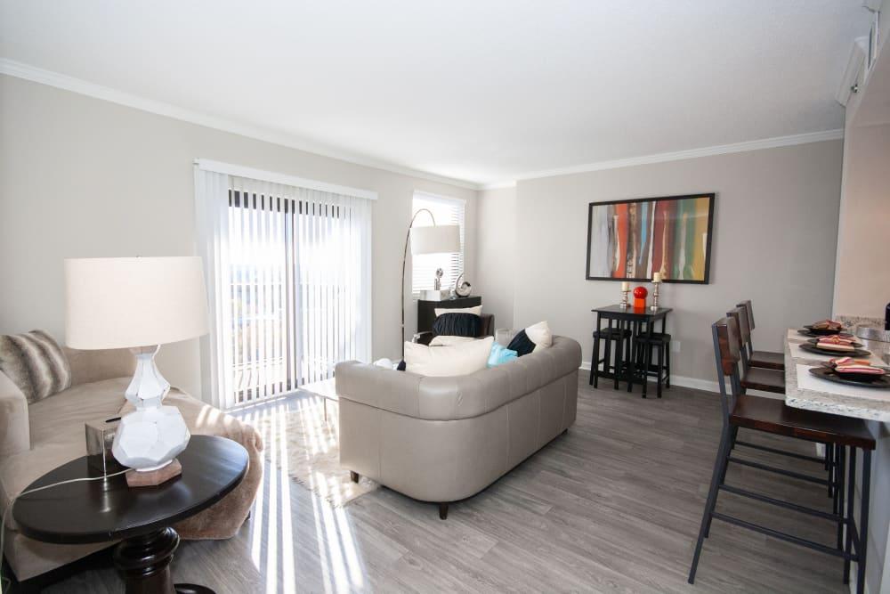 Beautiful living room at The Eva in Sandy Springs, Georgia
