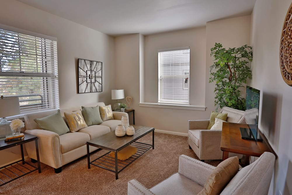 Spacious living room at The Fairway Apartments in Salem, Oregon
