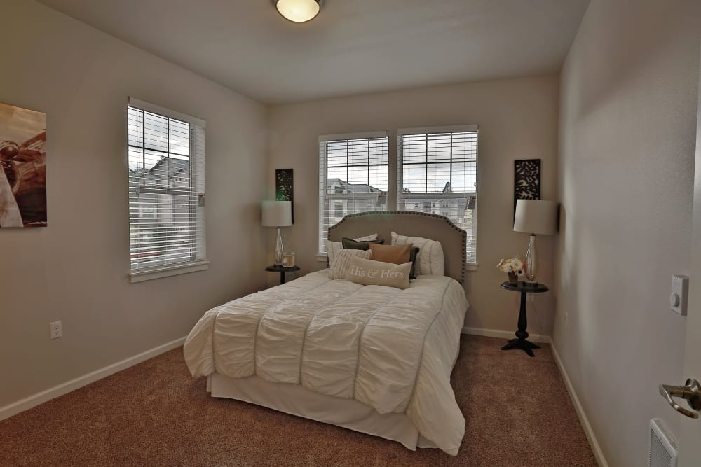 Bedroom with a view at The Fairway Apartments in Salem, Oregon