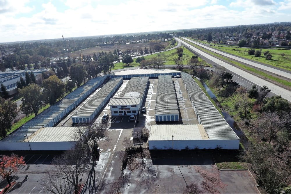 Aerial view of facility at First Rate Storage in Woodland, CA