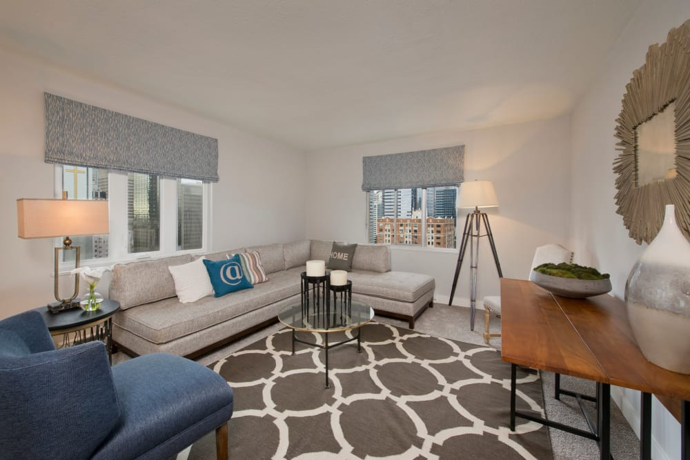 Enjoy a spacious living room at The Mill at First Hill in Seattle, Washington