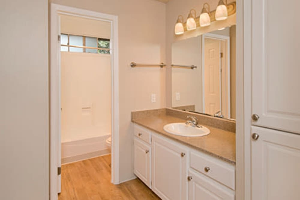 Enjoy a spacious bathroom at Shadow Oaks Apartment Homes in Cupertino, California