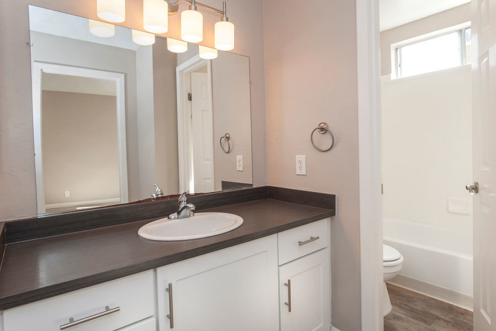 Shadow Oaks Apartment Homes showcase a beautiful bathroom in Cupertino, California