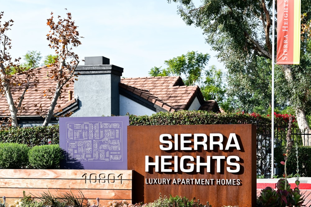 Sign in front of Sierra Heights Apartments in Rancho Cucamonga, California