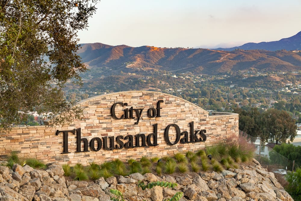 Front sign of upscale senior living facility at Sage Mountain in Thousand Oaks, California.