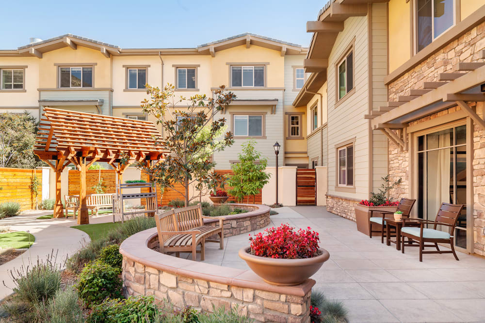 Sunny courtyard with hacienda roof tiling of Sage Mountain in Thousand Oaks, California.