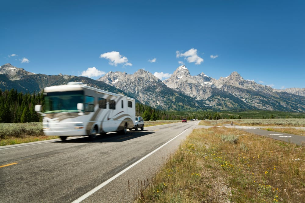 RV on highway near Summit Self-Storage in Driggs, Idaho