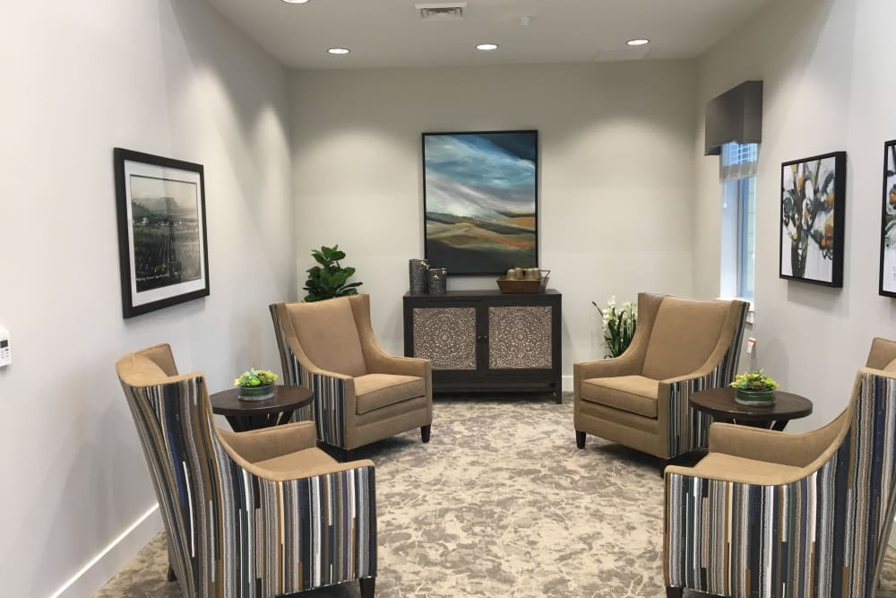 comfortable seating area at Pear Valley Senior Living