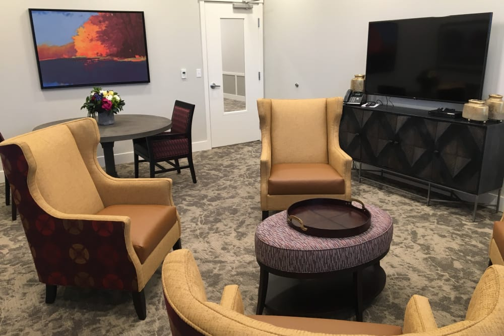 Seating area with t.v. at Pear Valley Senior Living