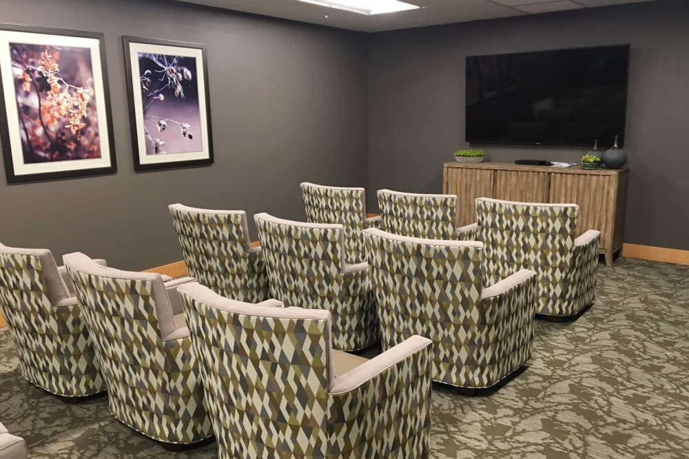 Comfortable seating area for watching movies at Pear Valley Senior Living