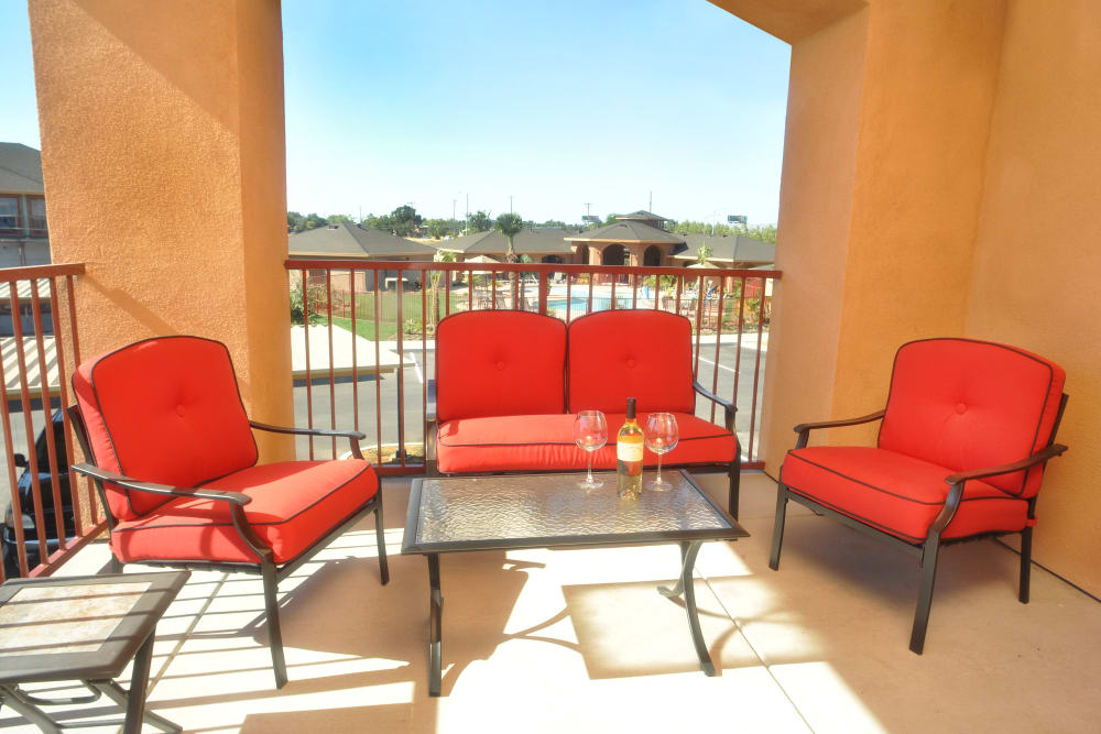 Private patio at Villa Risa Apartments in Chico, California