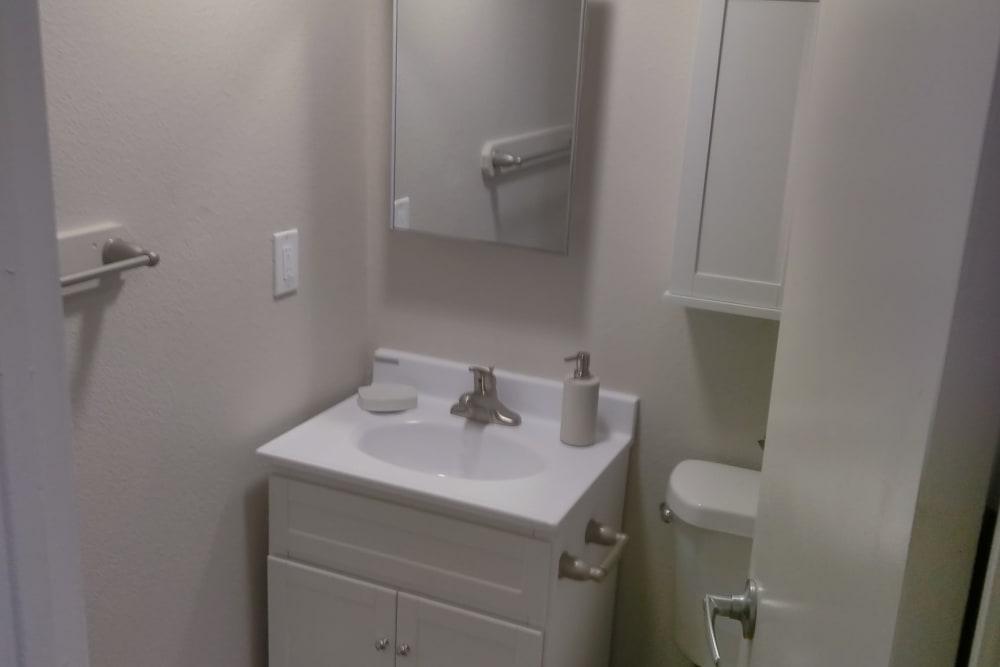 Bright bathroom at The Trees in Denver, Colorado