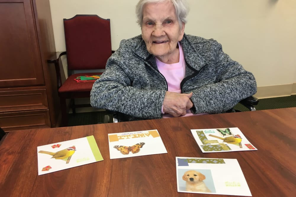 A resident with her collages at Park Terrace Health Campus in Louisville, Kentucky