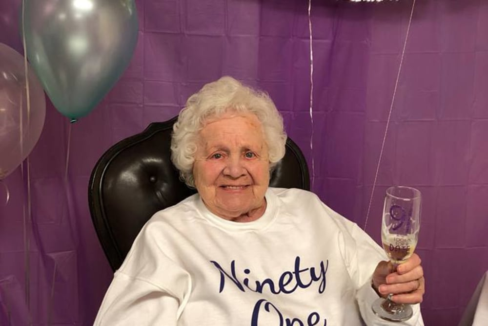 A resident celebrating her ninety-first birthday at RidgeCrest Health Campus in Jackson, Michigan
