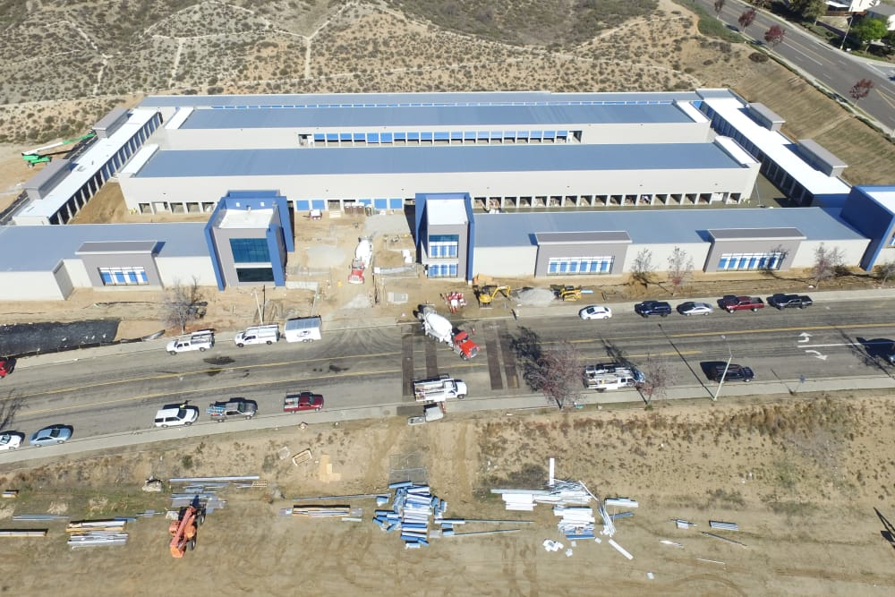 Aerial view of Silverhawk Self Storage construction.