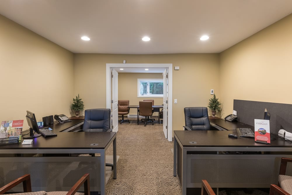 Leasing office interior at Creek Club Apartments in Williamston, Michigan