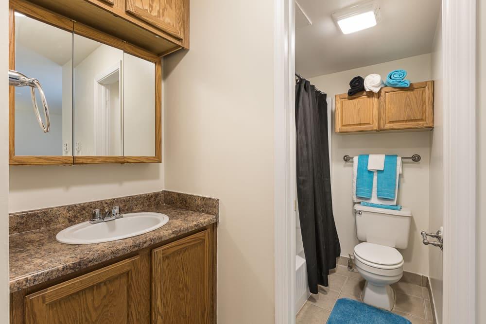 Bathroom at Creek Club Apartments in Williamston, Michigan