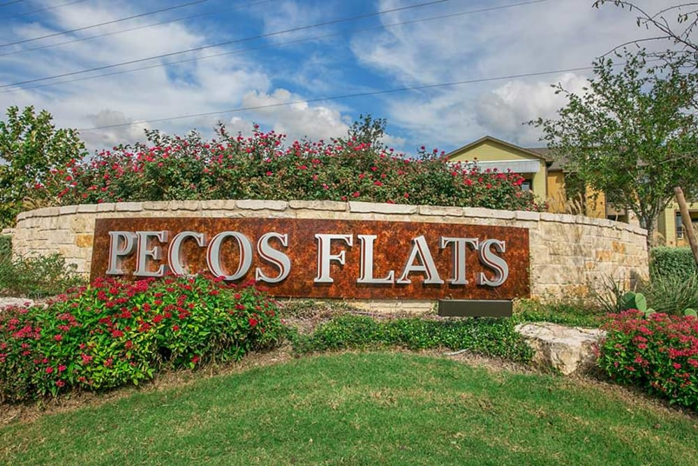 Sign to Pecos Flats in San Antonio, Texas