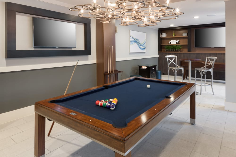Billiard table at Axis 3700 in Plano, Texas