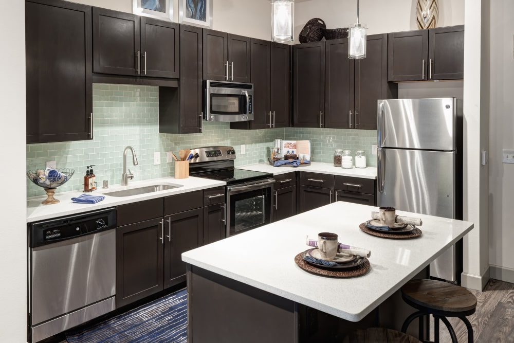 Stainless steel appliances at Axis 3700 in Plano, Texas