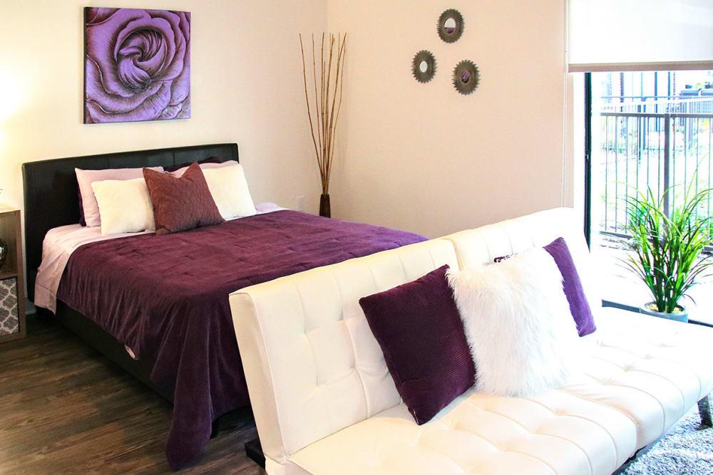 Cozy bedroom at Axis 3700 in Plano, Texas