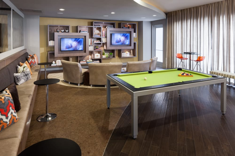 Clubhouse game room at Maple District Lofts in Dallas, Texas