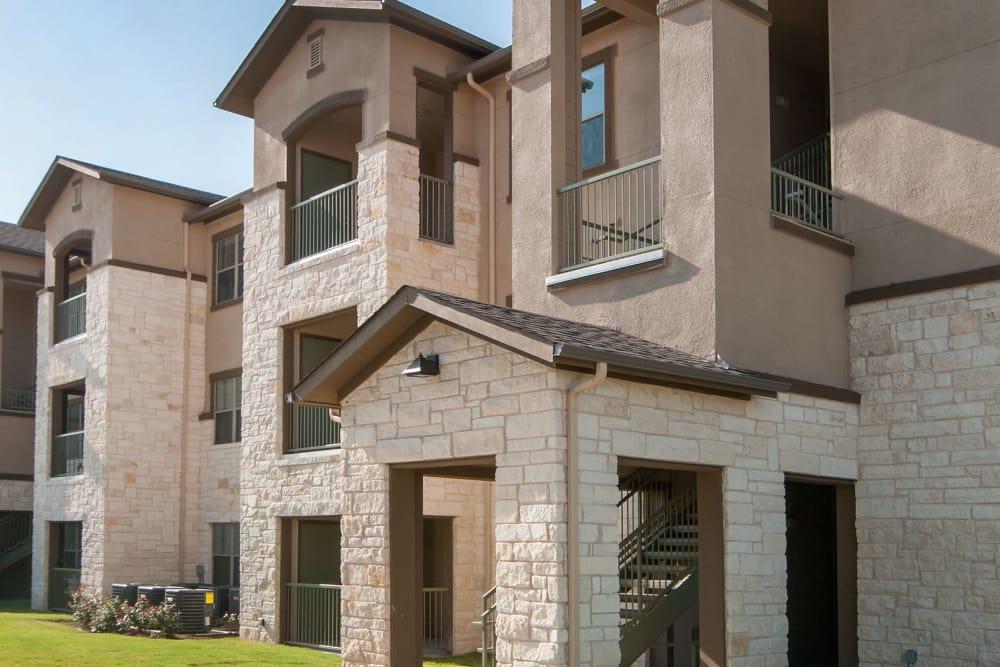 Exterior of Carrington Oaks' apartments in Buda, TX